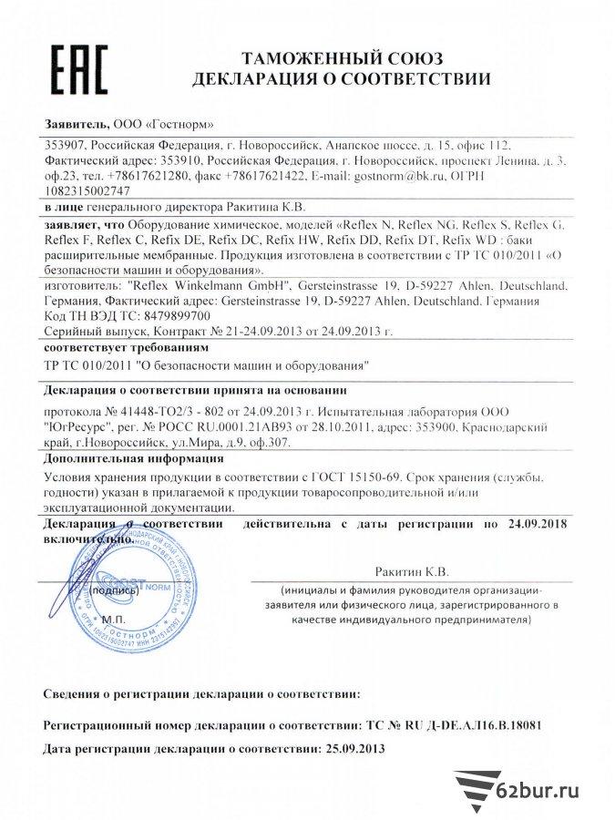 Декларация соответствия Мембранные расширительные баки Reflex