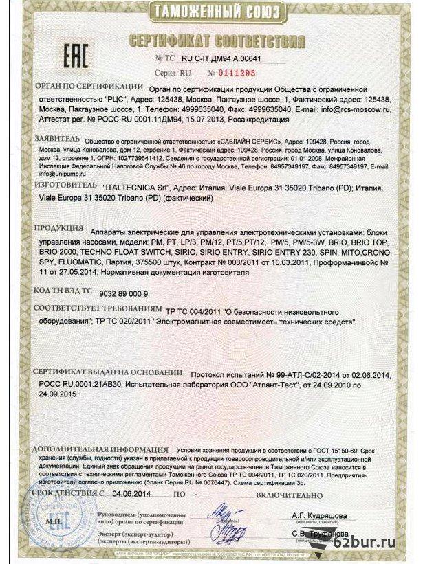 Сертификат соответствия автоматика Italtecnica sri
