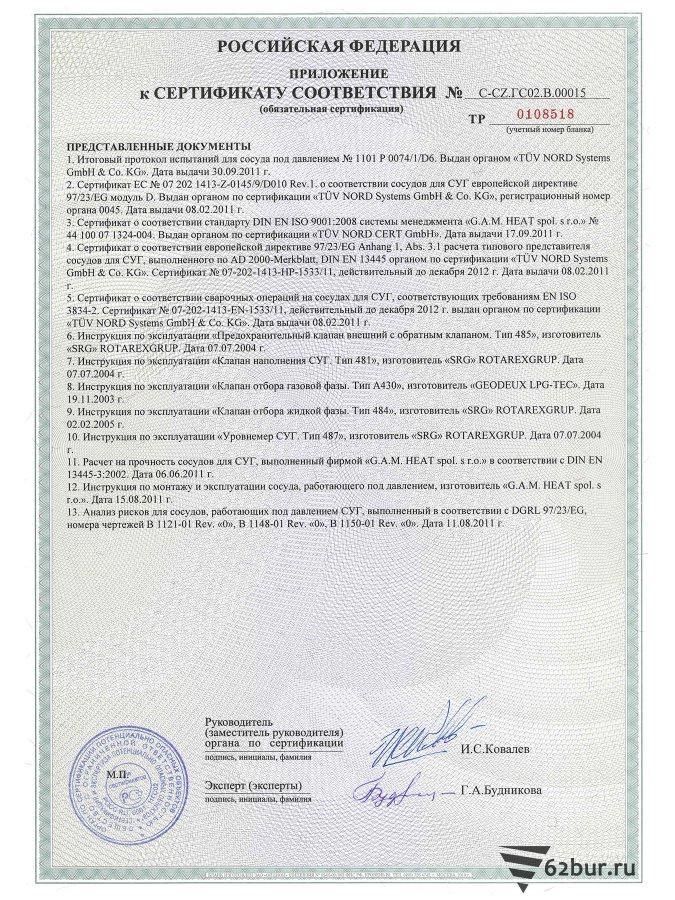 Сертификат соответствия газгольдера Deltagaz