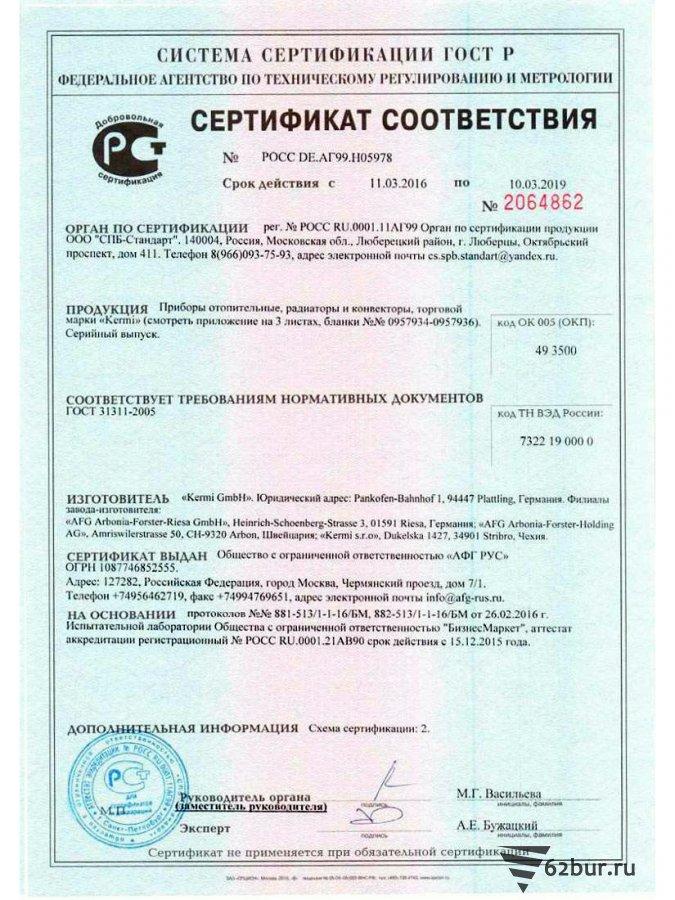 Сертификат соответствия Kermi