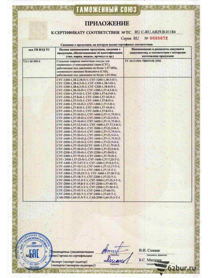 Сертификат соответствия на стальные сосуды для СУГ GT7 стр2