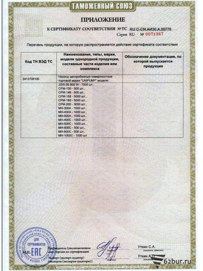 Сертификат соответствия поверхностные насосы Unipump 2стр