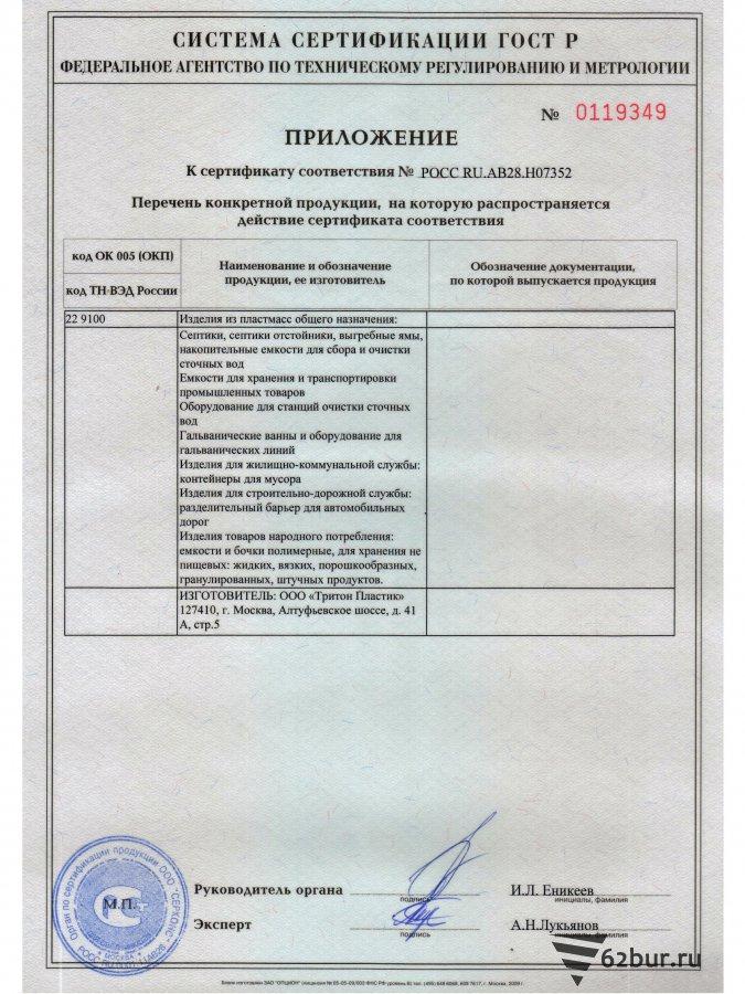 Сертификат соответствия септик Танк