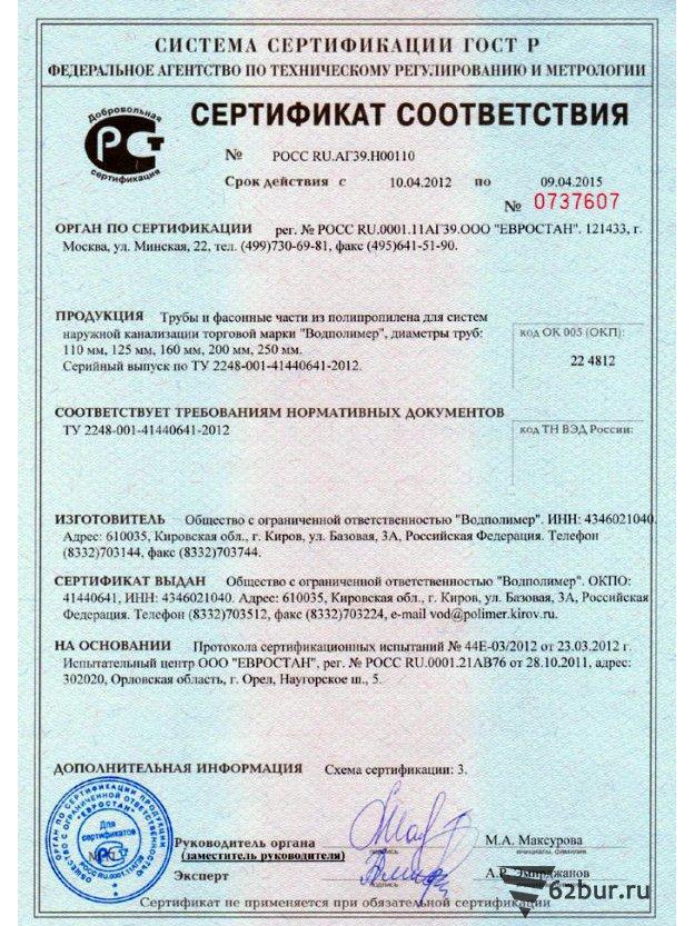 Сертификат соответствия труба