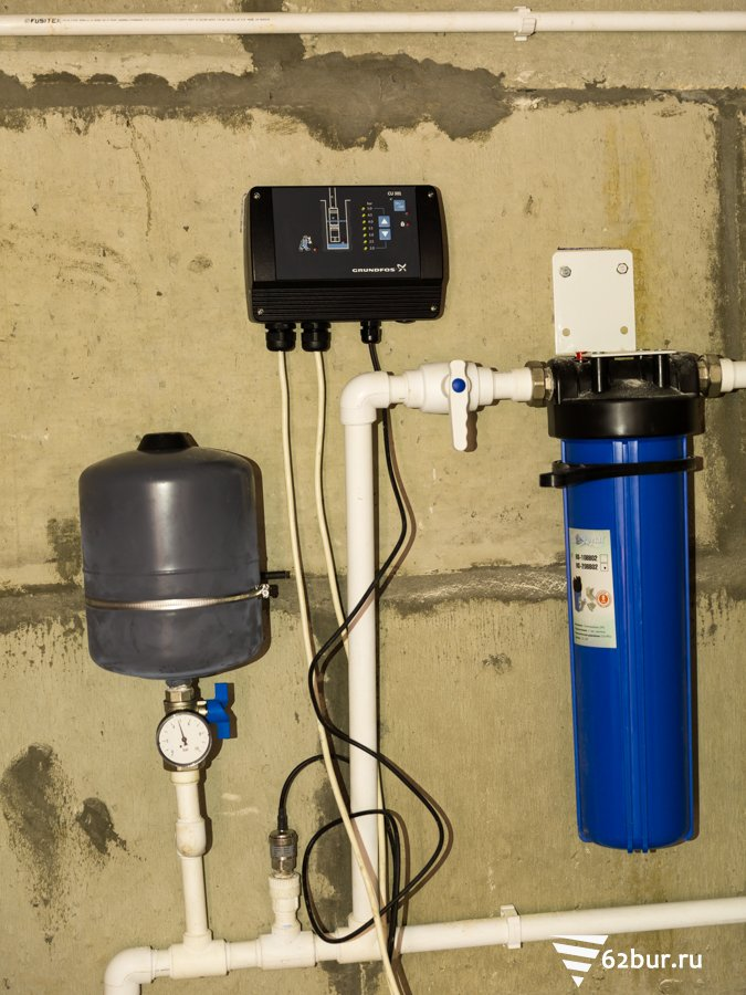Система водоснабжения Grundfos с частотным преобразователем