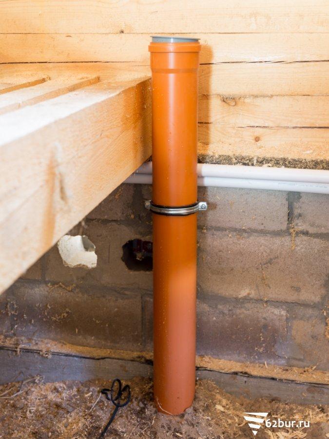 Ввод канализационного стояка в дом