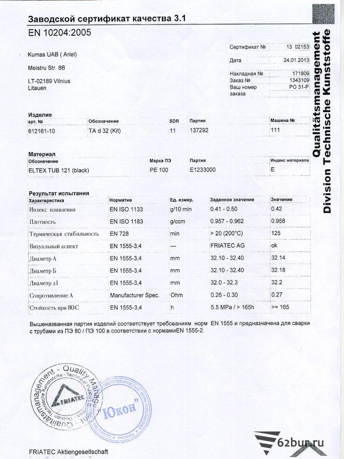 Заводской сертификат качества на фитинги электросварные